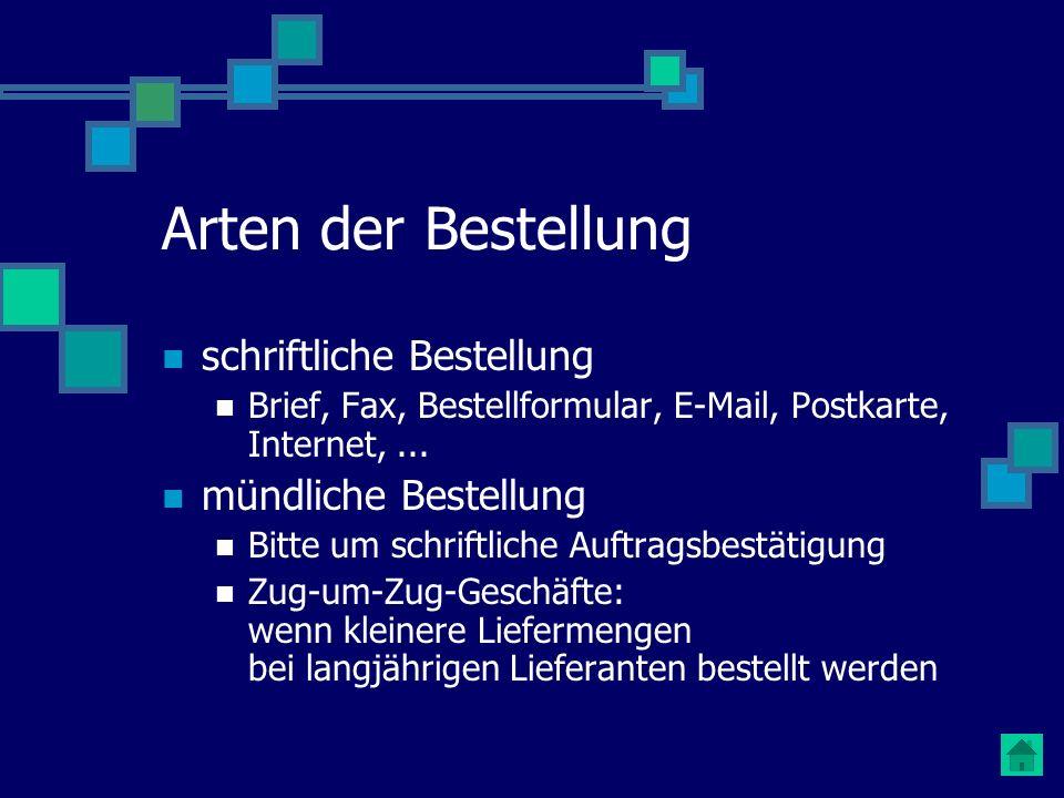 Arten der Bestellung schriftliche Bestellung mündliche Bestellung