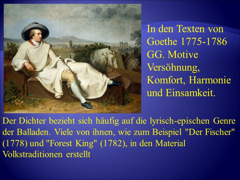 In den Texten von Goethe 1775-1786 GG