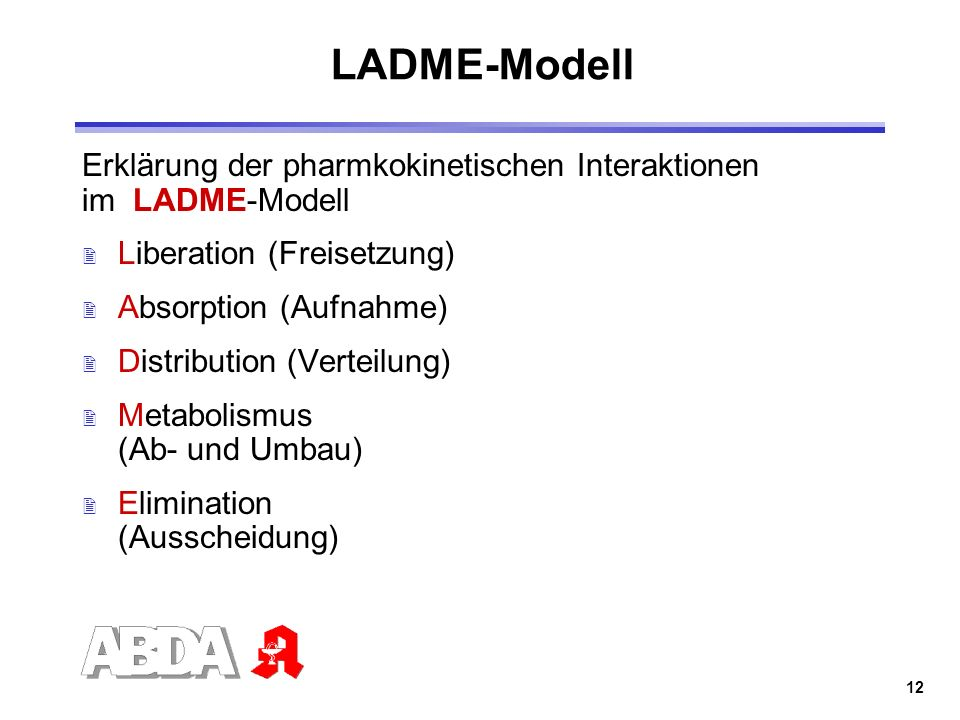 LADME-Modell Erklärung der pharmkokinetischen Interaktionen im LADME-Modell. Liberation (Freisetzung)
