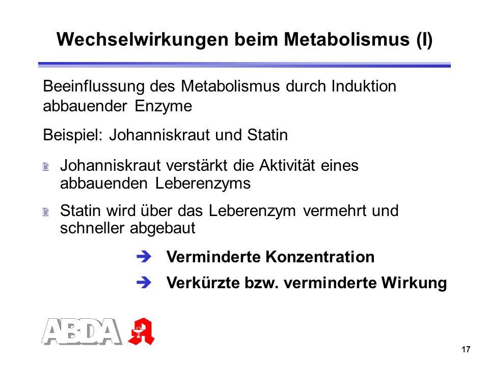 Wechselwirkungen beim Metabolismus (I)