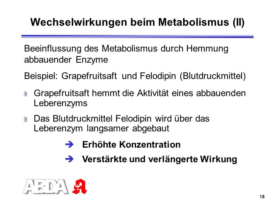 Wechselwirkungen beim Metabolismus (II)