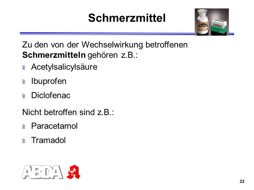 Schmerzmittel Zu den von der Wechselwirkung betroffenen Schmerzmitteln gehören z.B.: Acetylsalicylsäure.