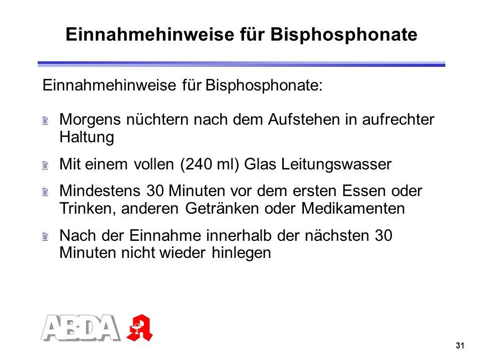 Einnahmehinweise für Bisphosphonate