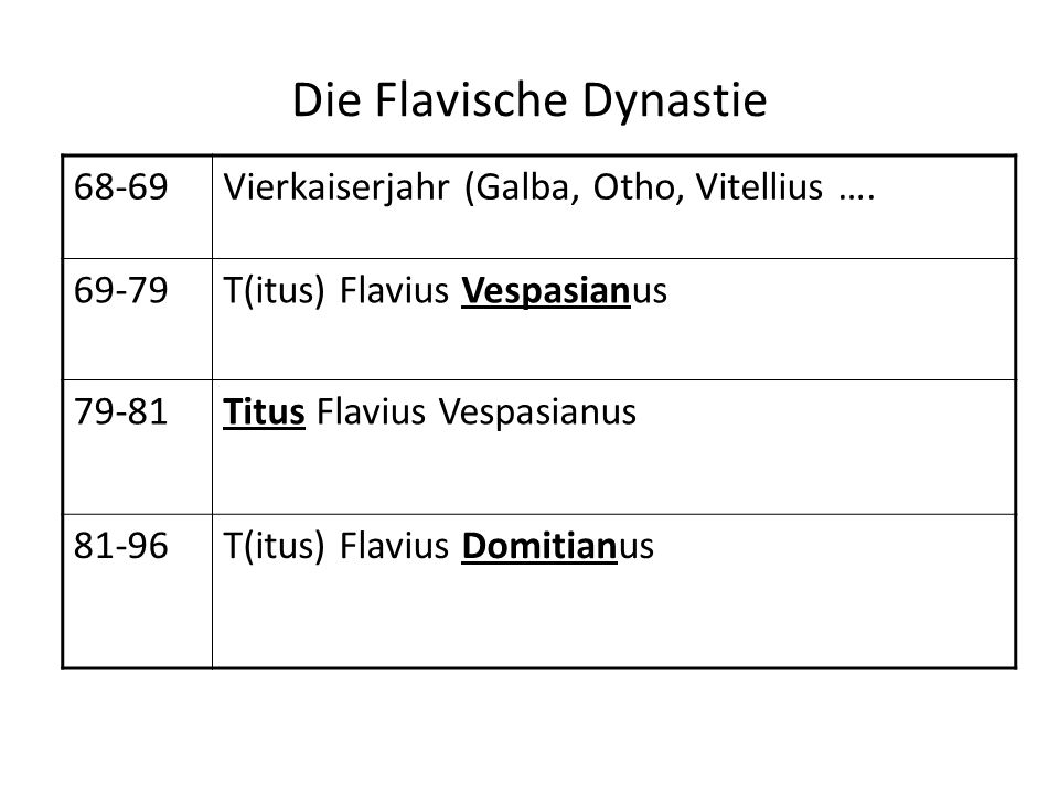 Die Flavische Dynastie