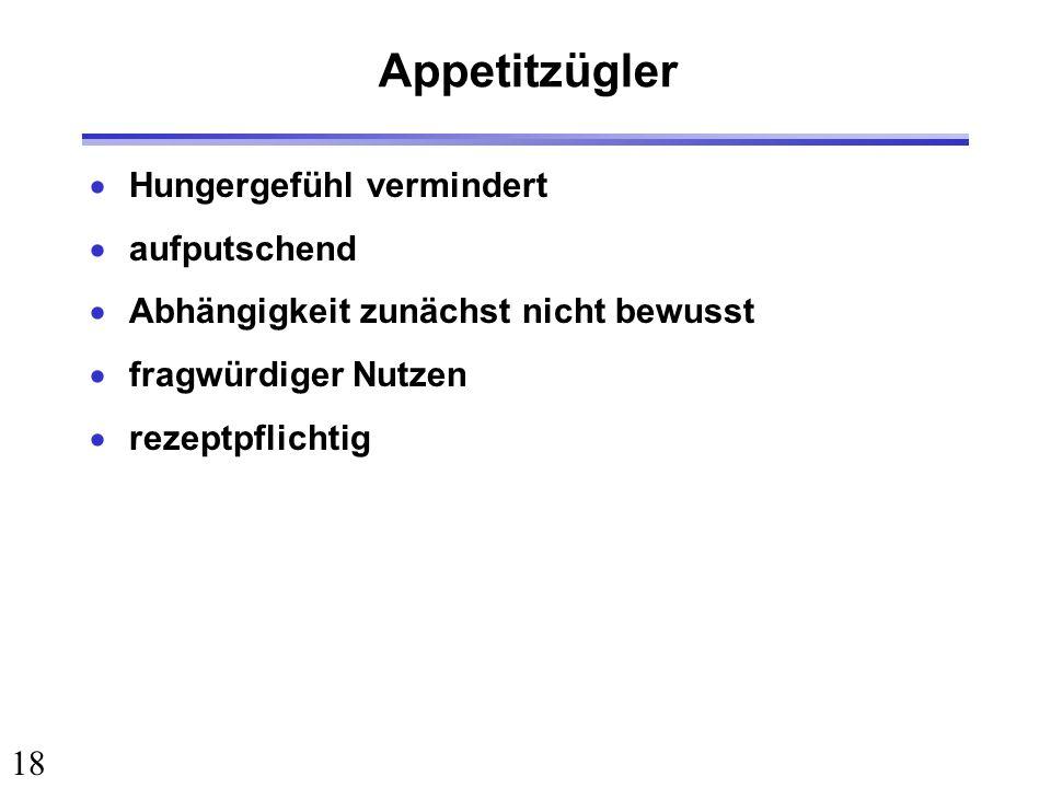 Appetitzügler Hungergefühl vermindert aufputschend
