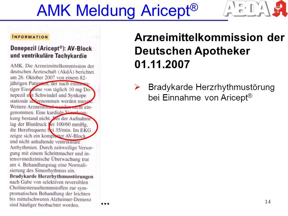 AMK Meldung Aricept® Arzneimittelkommission der Deutschen Apotheker 01.11.2007. Bradykarde Herzrhythmustörung bei Einnahme von Aricept®