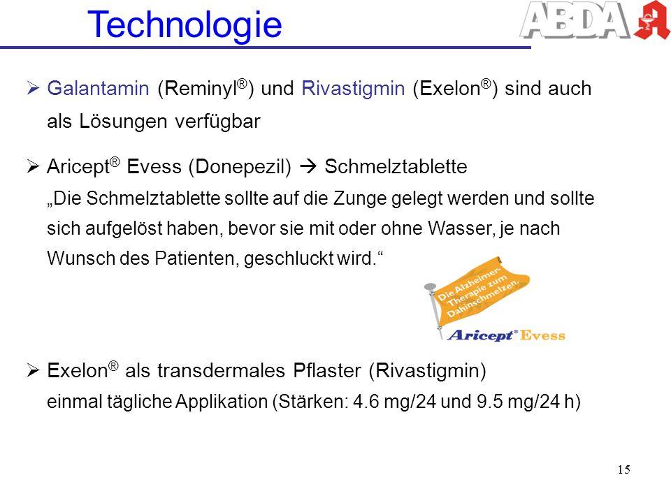Technologie Galantamin (Reminyl®) und Rivastigmin (Exelon®) sind auch als Lösungen verfügbar.