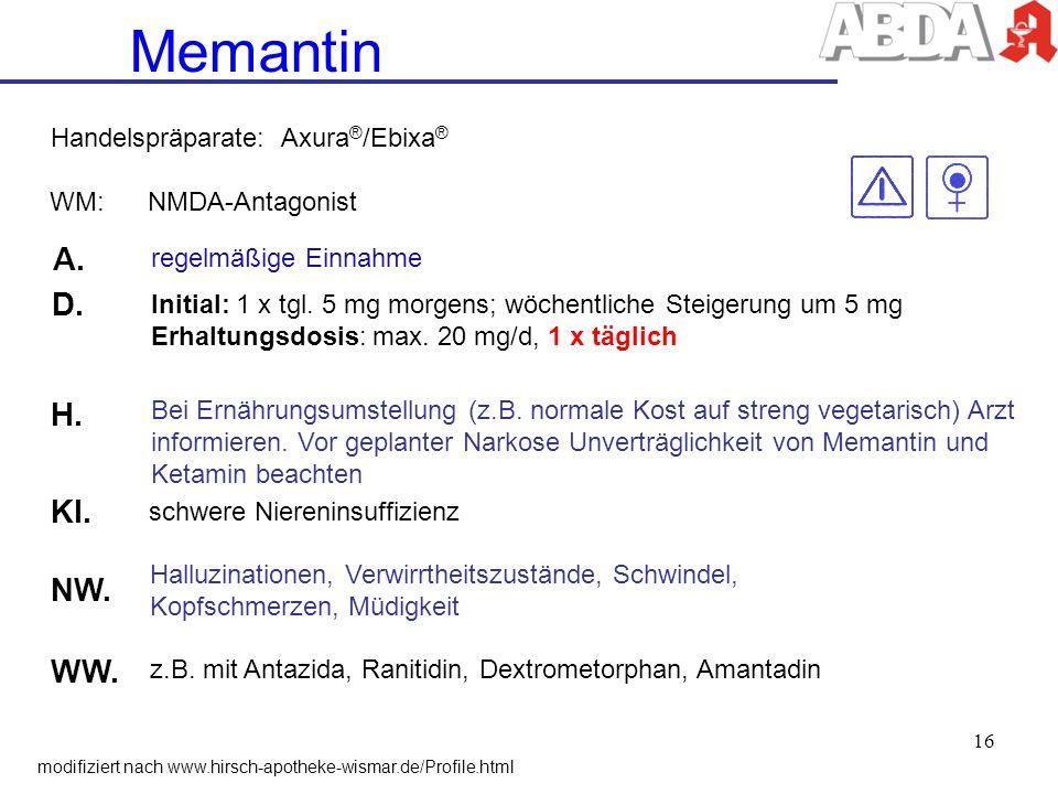 Memantin A. D. H. KI. NW. WW. Handelspräparate: Axura®/Ebixa®