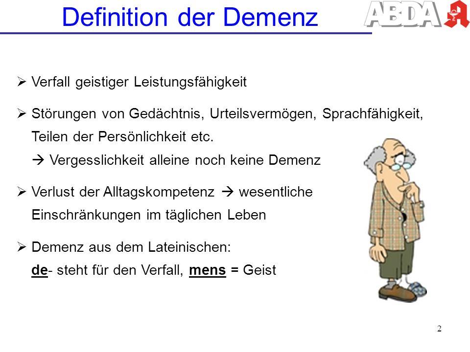 Definition der Demenz Verfall geistiger Leistungsfähigkeit