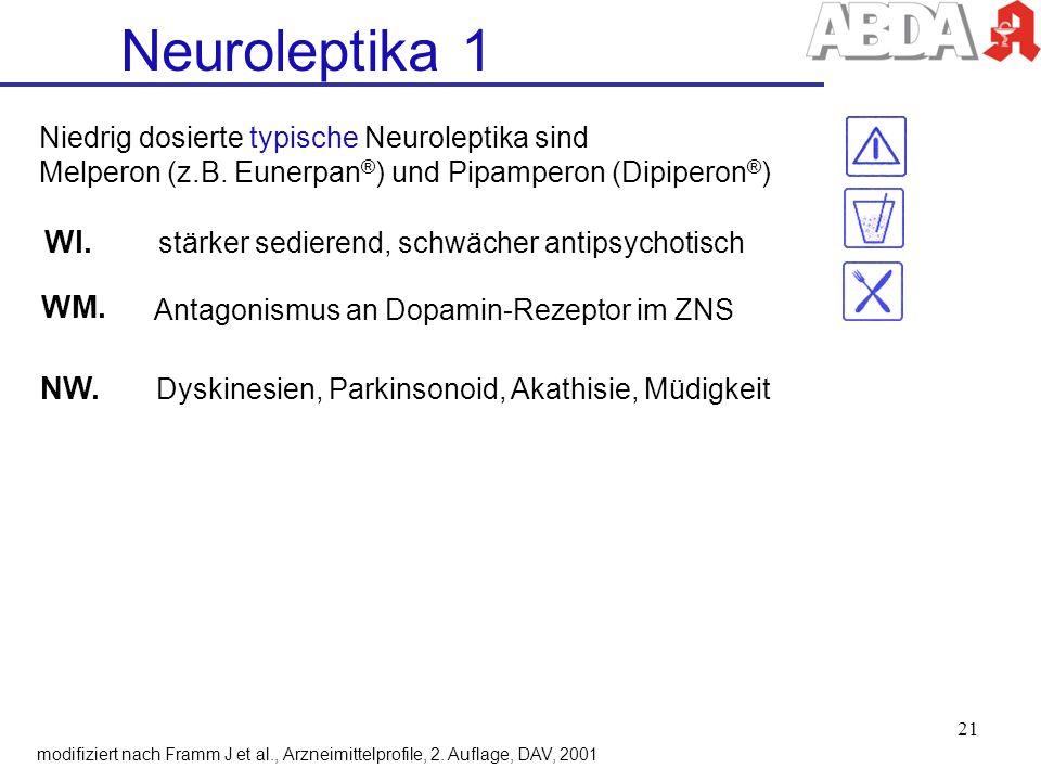 Neuroleptika 1 WI. WM. NW. Niedrig dosierte typische Neuroleptika sind