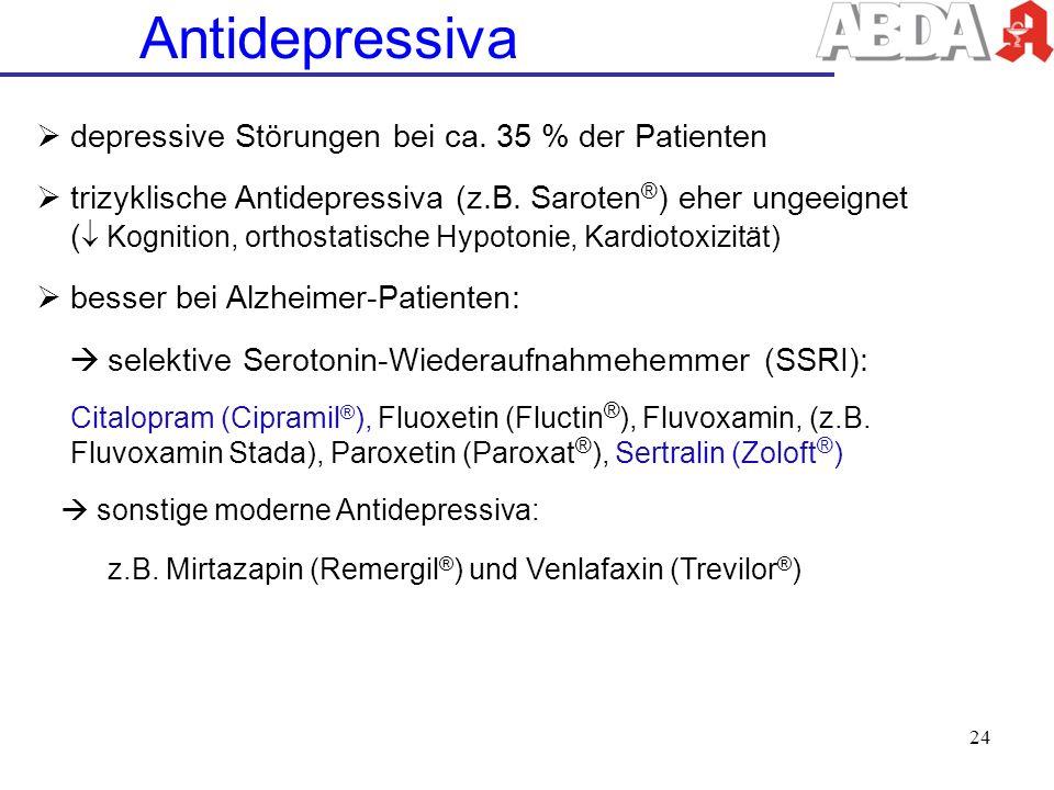 Antidepressiva depressive Störungen bei ca. 35 % der Patienten