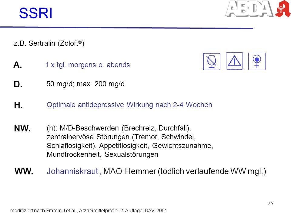 SSRI z.B. Sertralin (Zoloft®) A. 1 x tgl. morgens o. abends. D. 50 mg/d; max. 200 mg/d. H. Optimale antidepressive Wirkung nach 2-4 Wochen.