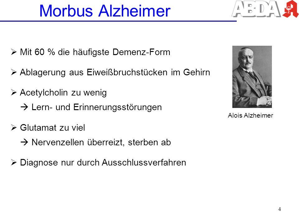 Morbus Alzheimer Mit 60 % die häufigste Demenz-Form