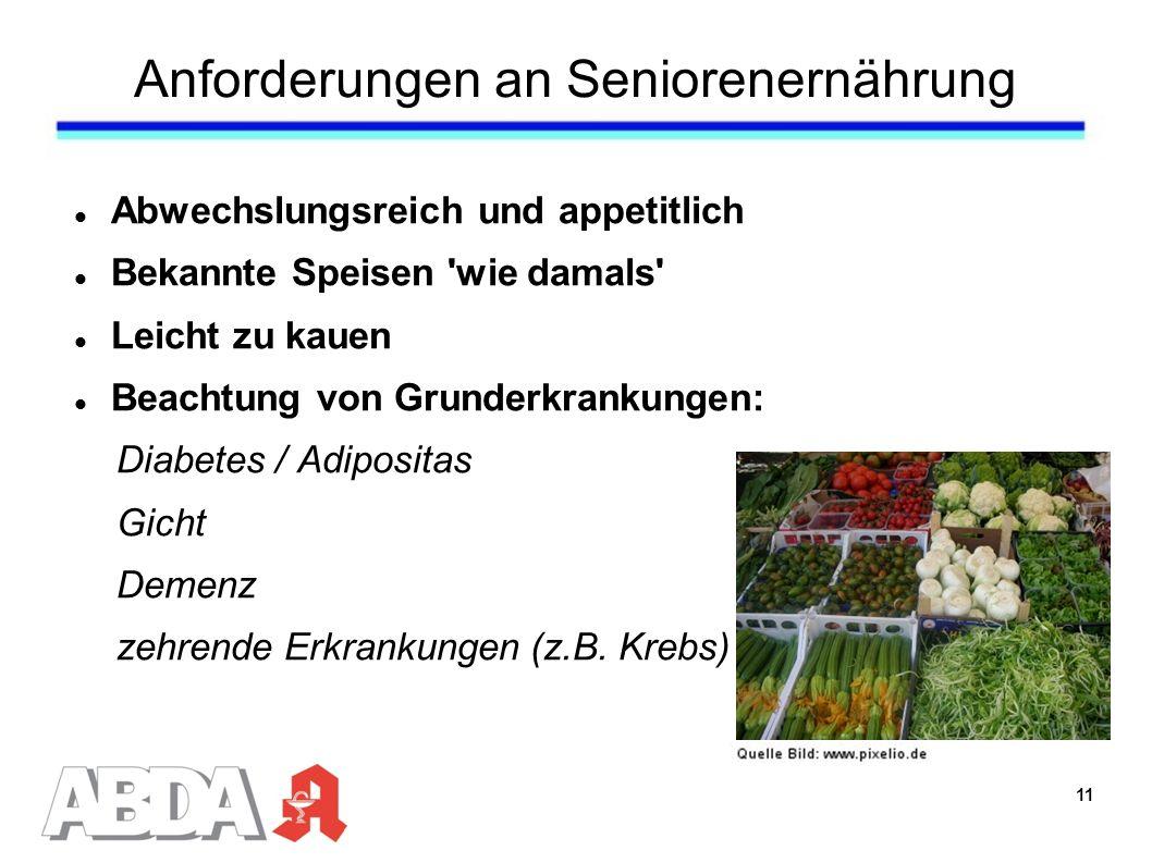 Anforderungen an Seniorenernährung