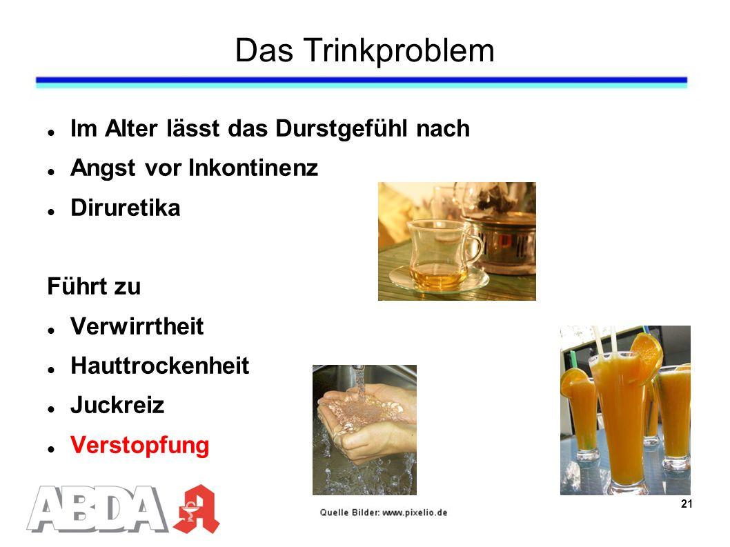 Das Trinkproblem Im Alter lässt das Durstgefühl nach