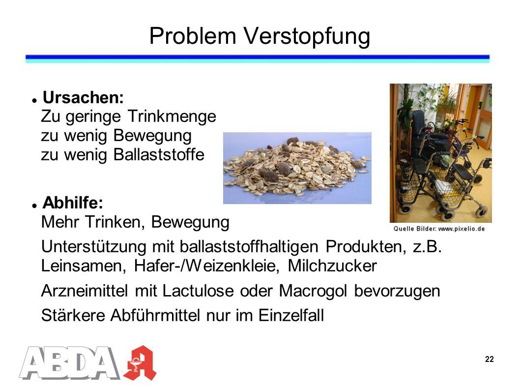 Problem Verstopfung Ursachen: Zu geringe Trinkmenge zu wenig Bewegung