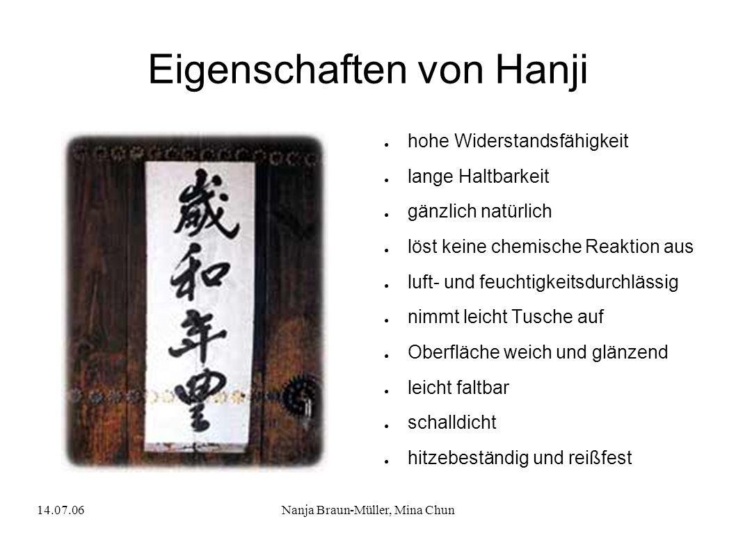 Eigenschaften von Hanji