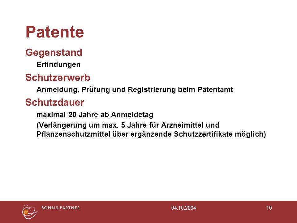 Patente Gegenstand Schutzerwerb Schutzdauer Erfindungen