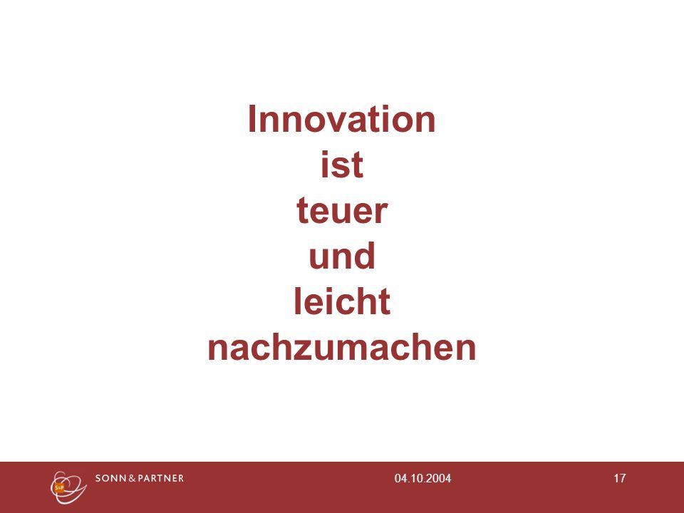 Innovation ist teuer und leicht nachzumachen