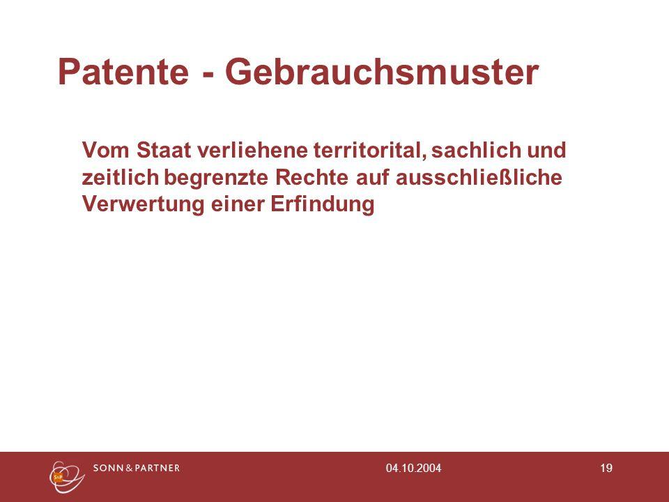 Patente - Gebrauchsmuster