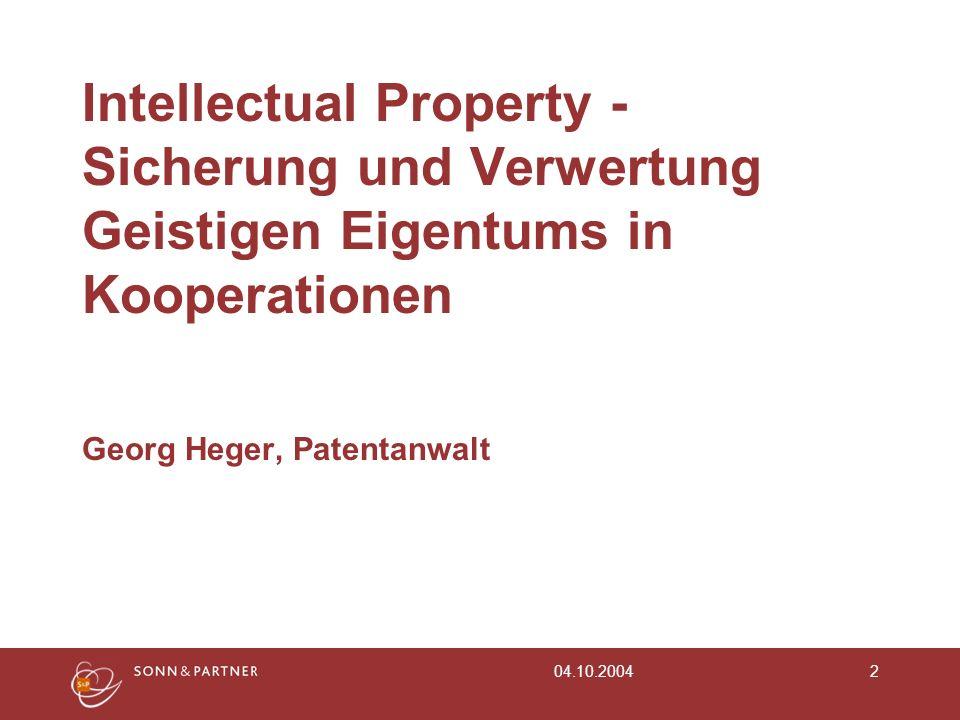 Intellectual Property - Sicherung und Verwertung Geistigen Eigentums in Kooperationen