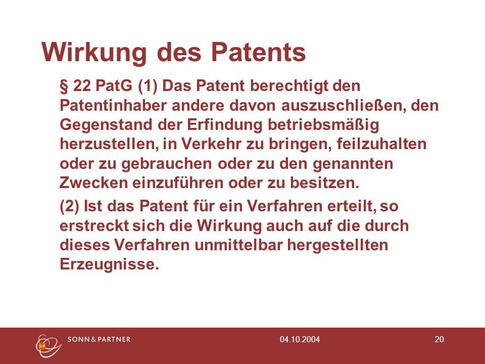 Wirkung des Patents