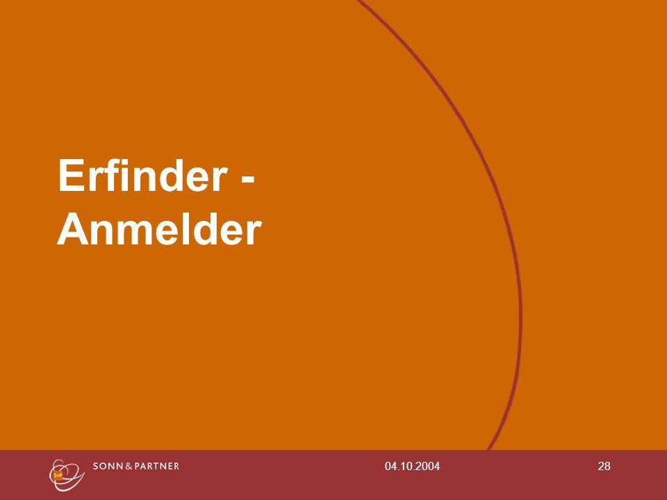 Erfinder - Anmelder 04.10.2004