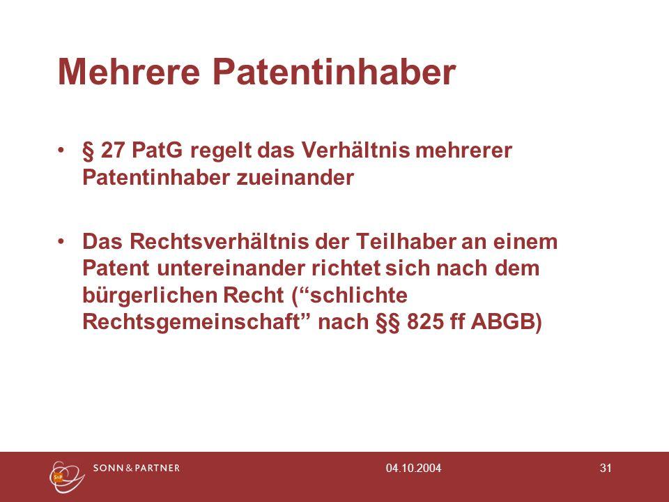 Mehrere Patentinhaber