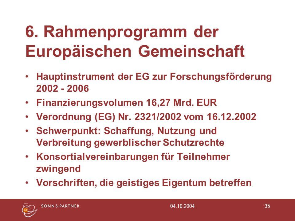6. Rahmenprogramm der Europäischen Gemeinschaft