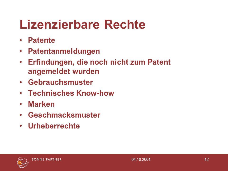 Lizenzierbare Rechte Patente Patentanmeldungen