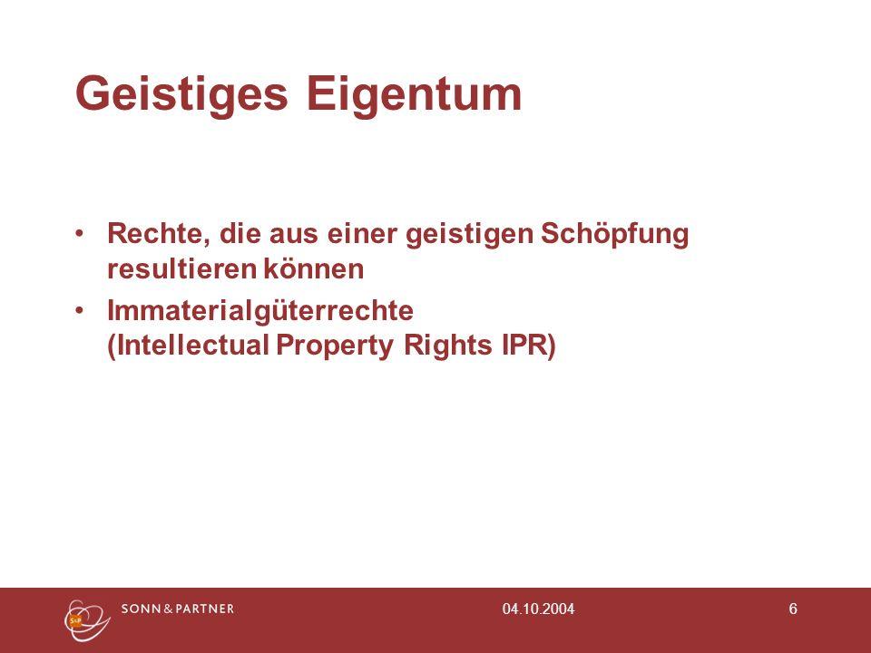 Geistiges Eigentum Rechte, die aus einer geistigen Schöpfung resultieren können. Immaterialgüterrechte (Intellectual Property Rights IPR)
