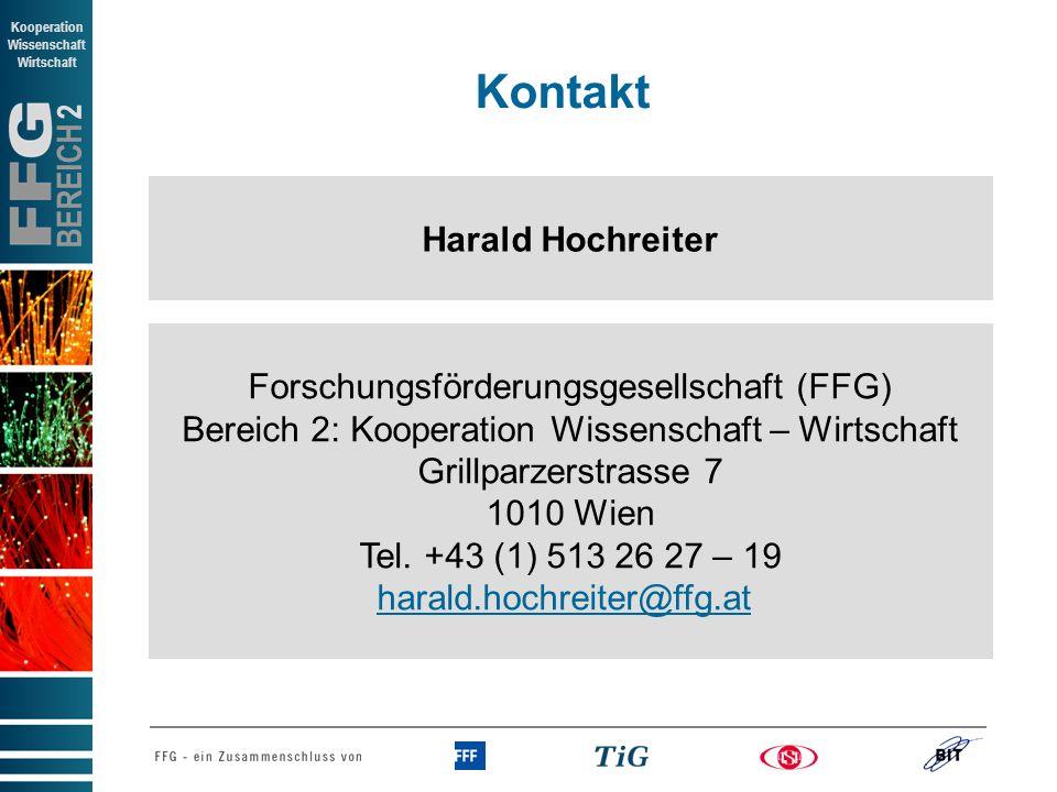 Kontakt Harald Hochreiter Forschungsförderungsgesellschaft (FFG)