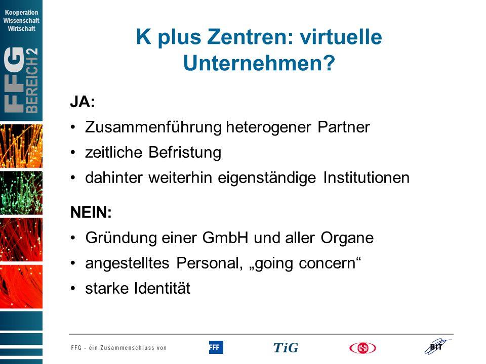 K plus Zentren: virtuelle Unternehmen