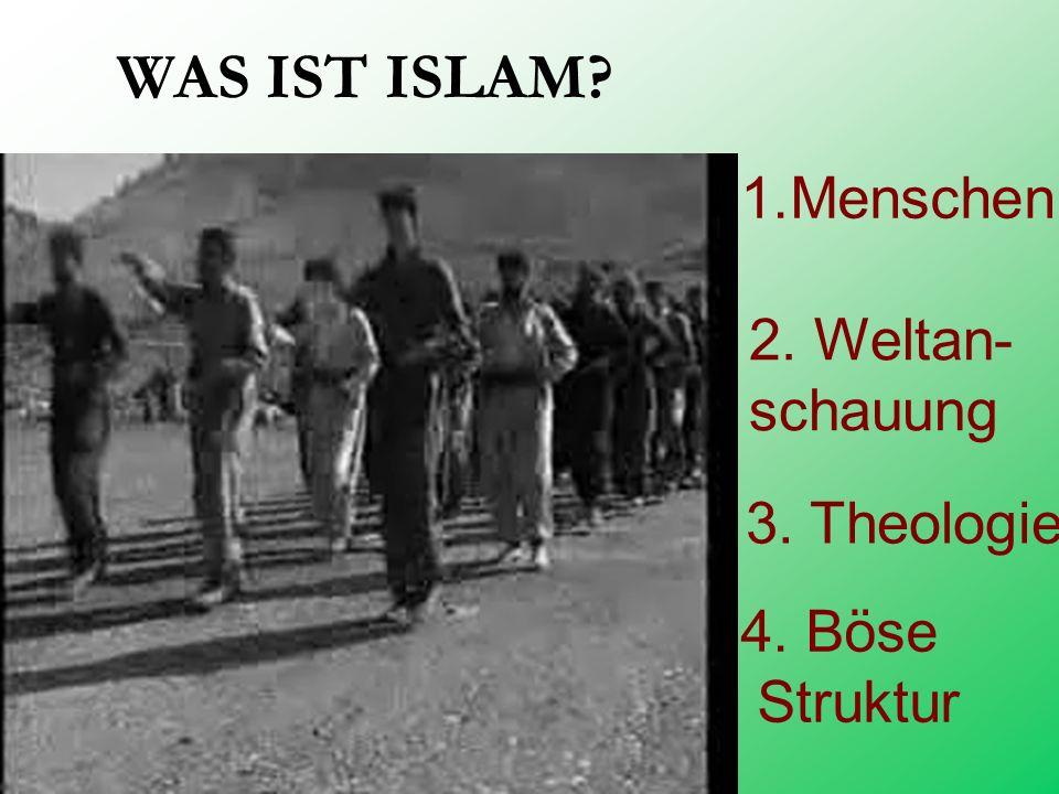 WAS IST ISLAM Menschen 2. Weltan- schauung 3. Theologie 4. Böse