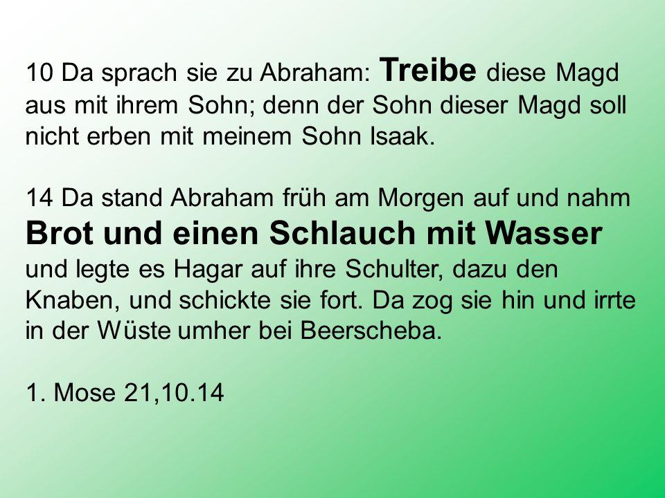 10 Da sprach sie zu Abraham: Treibe diese Magd aus mit ihrem Sohn; denn der Sohn dieser Magd soll nicht erben mit meinem Sohn Isaak.