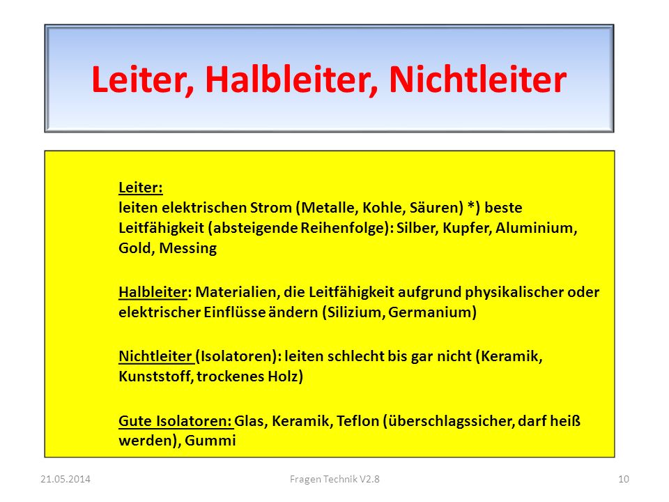Leiter, Halbleiter, Nichtleiter