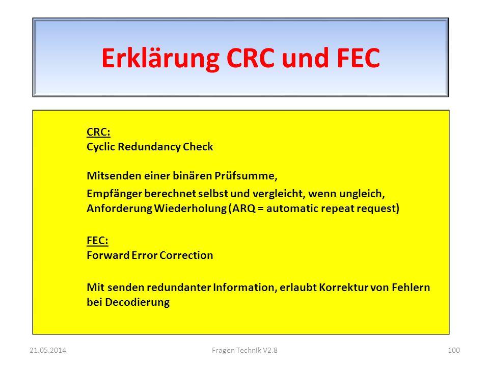 Erklärung CRC und FEC CRC: Cyclic Redundancy Check Mitsenden einer binären Prüfsumme,
