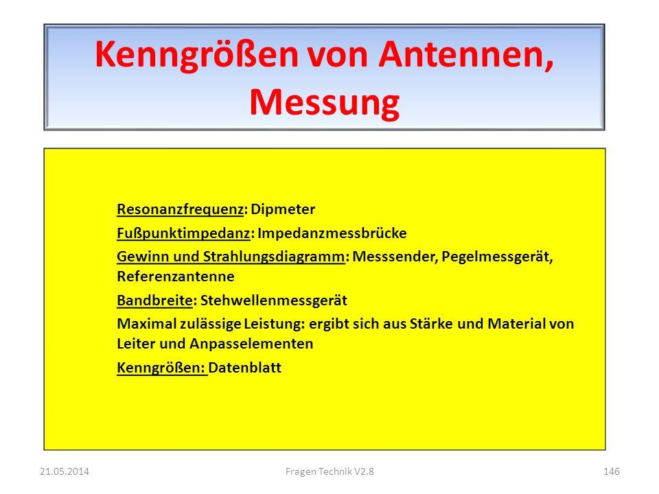 Kenngrößen von Antennen, Messung