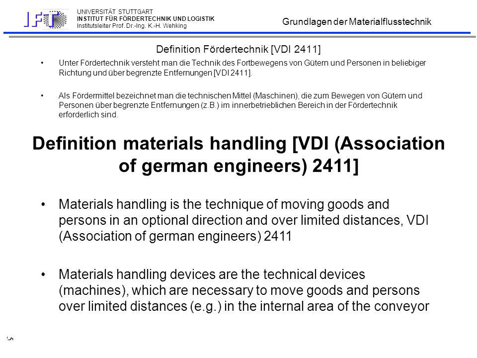 Aufgabe der Fördermittel Tasks of material handling devices