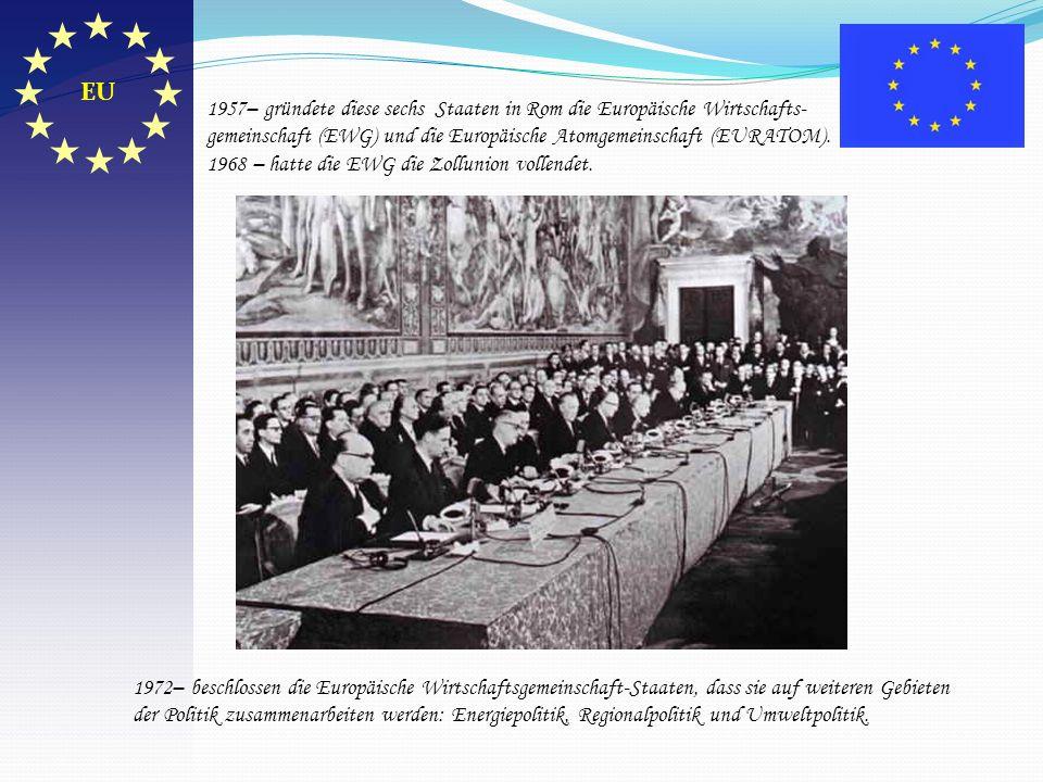 EU 1957– gründete diese sechs Staaten in Rom die Europäische Wirtschafts-gemeinschaft (EWG) und die Europäische Atomgemeinschaft (EURATOM).