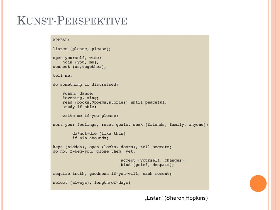 "Kunst-Perspektive ""Listen (Sharon Hopkins)"