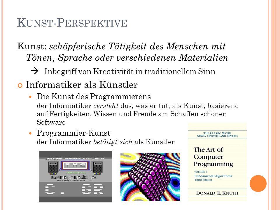 Kunst-Perspektive Kunst: schöpferische Tätigkeit des Menschen mit Tönen, Sprache oder verschiedenen Materialien.