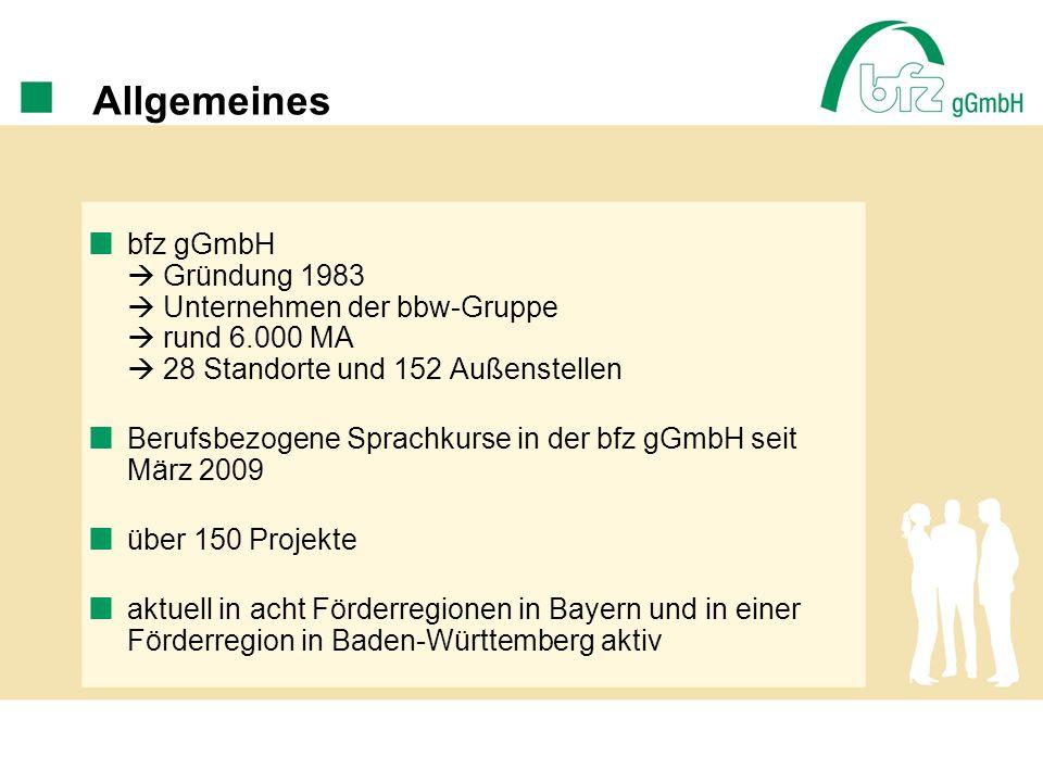 Allgemeines bfz gGmbH  Gründung 1983  Unternehmen der bbw-Gruppe  rund 6.000 MA  28 Standorte und 152 Außenstellen.