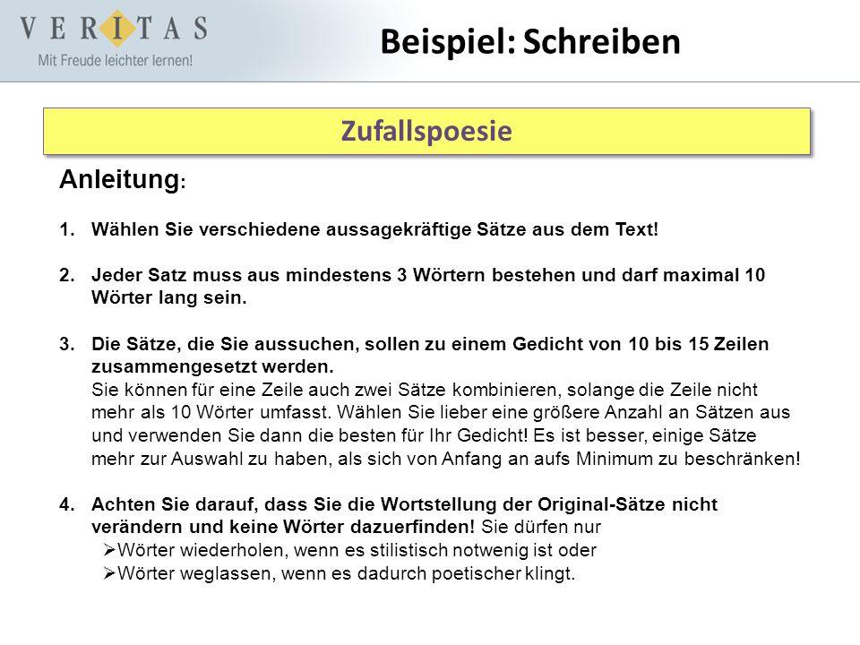 Beispiel: Schreiben Zufallspoesie Anleitung: