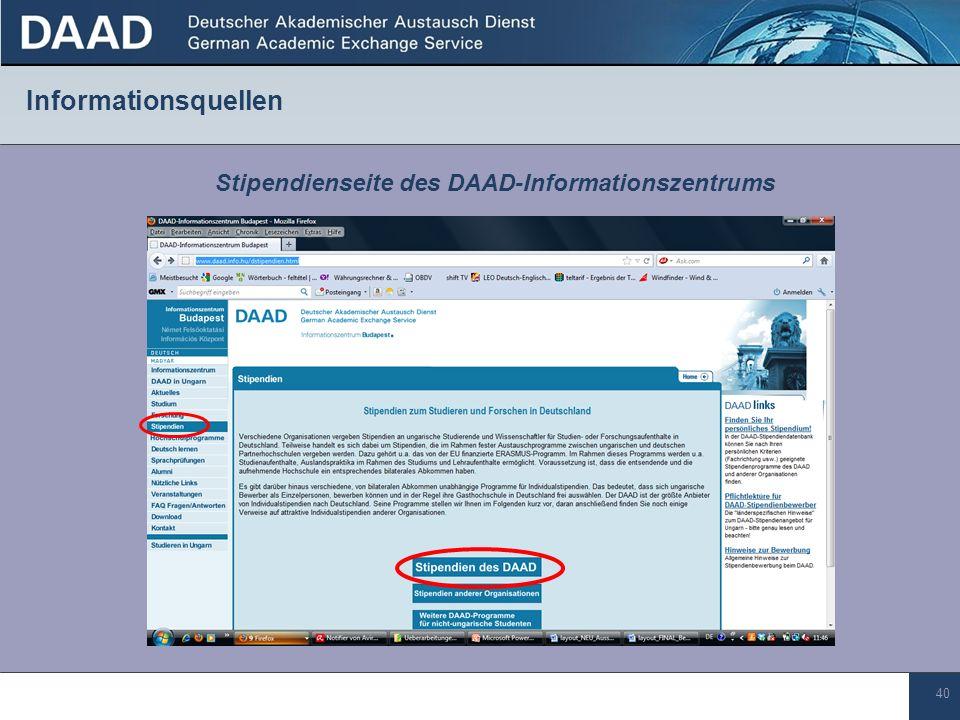 Stipendienseite des DAAD-Informationszentrums