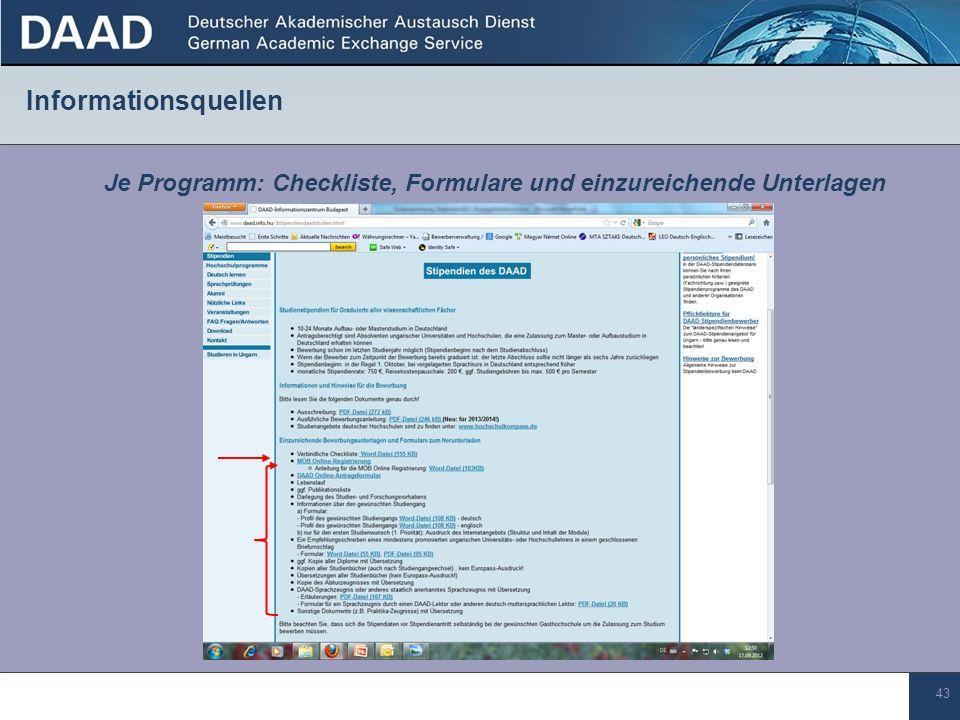 Je Programm: Checkliste, Formulare und einzureichende Unterlagen