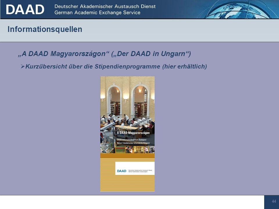 """Informationsquellen """"A DAAD Magyarországon (""""Der DAAD in Ungarn )"""