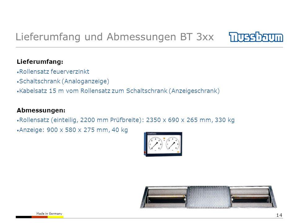 Lieferumfang und Abmessungen BT 3xx