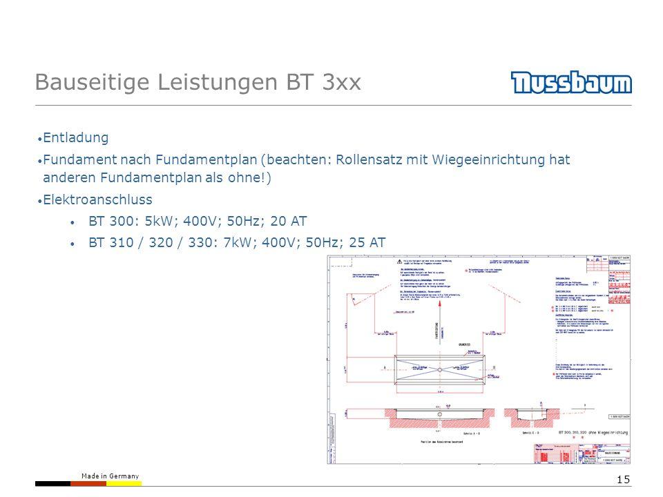 Bauseitige Leistungen BT 3xx