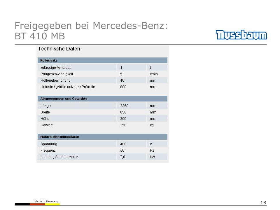 Freigegeben bei Mercedes-Benz: BT 410 MB